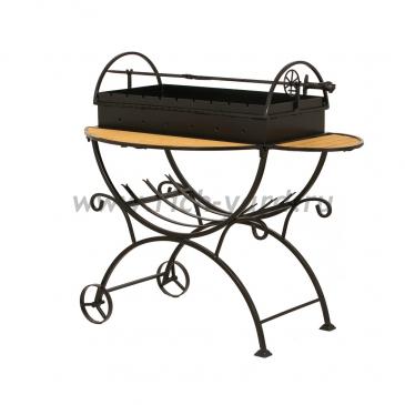 Мангал садовый с дровницей на колесах МСДК (толщина стали 2 мм)