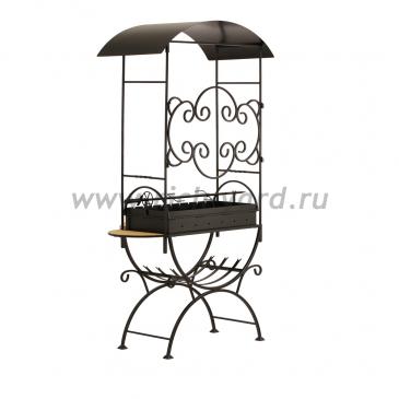 Мангал для дачи с крышей и дровницей МСДН2 (толщина стали 2 мм)