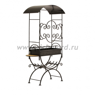 Мангал для дачи с крышей и дровницей МСДН2 (сталь 4 мм)