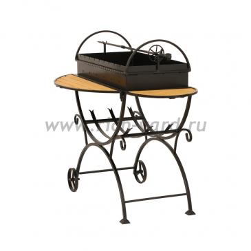 Кованый мангал с дровницей на колесах МСДК (сталь 4 мм)
