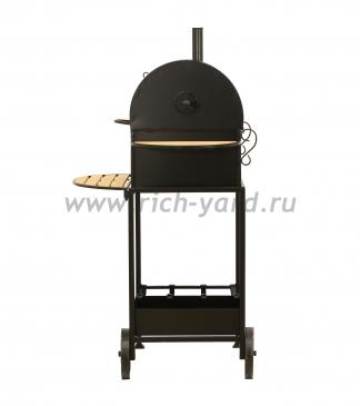 Угольно древесное барбекю с крышкой на колёсах